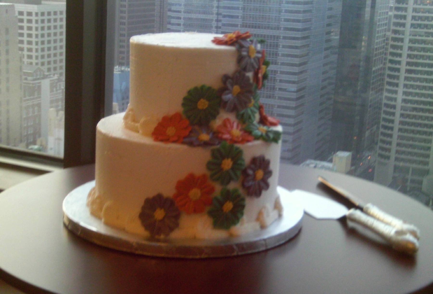 Two totally different wedding cakes